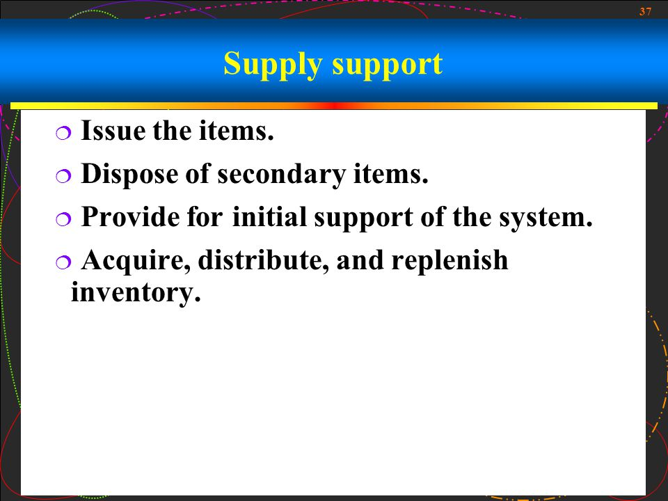 Supply support Issue the items. Dispose of secondary items.