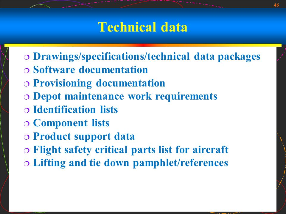 Technical data Drawings/specifications/technical data packages