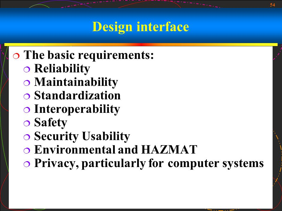 Design interface The basic requirements: Reliability Maintainability