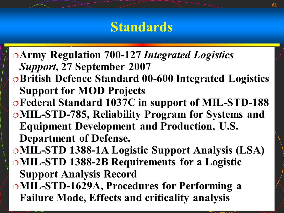 Standards Army Regulation 700-127 Integrated Logistics Support, 27 September 2007.