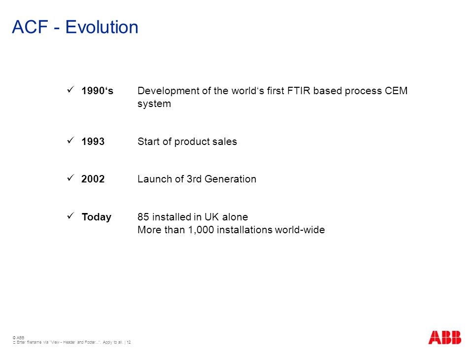 ACF - Evolution 1990's Development of the world's first FTIR based process CEM system. 1993 Start of product sales.
