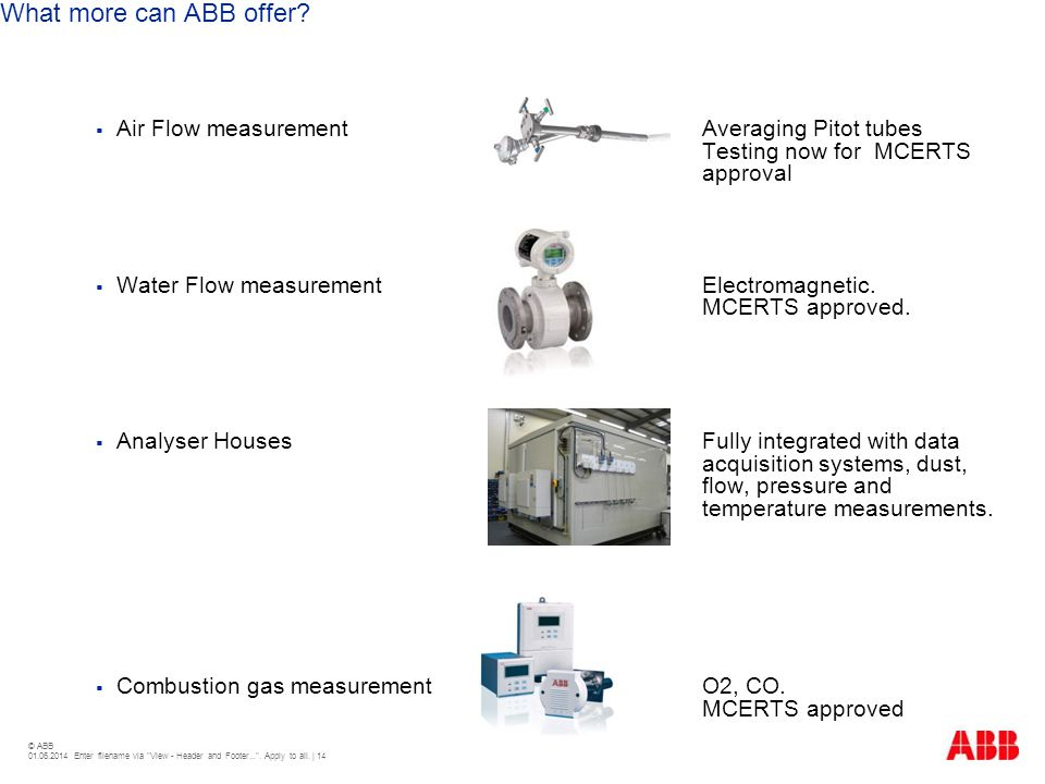 What more can ABB offer Air Flow measurement Averaging Pitot tubes Testing now for MCERTS approval.