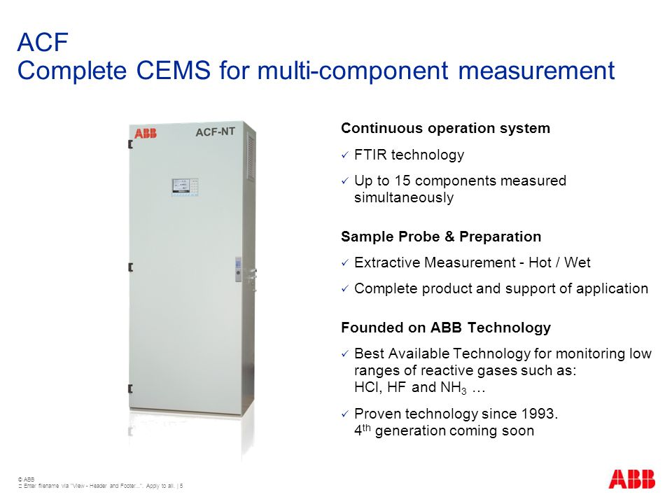 ACF Complete CEMS for multi-component measurement