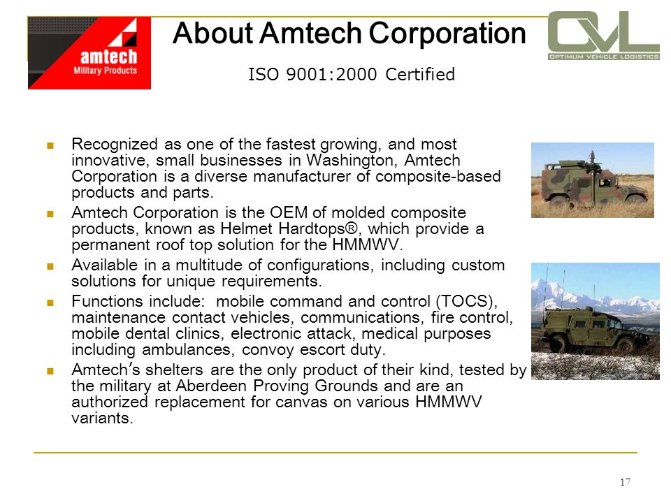 About Amtech Corporation ISO 9001:2000 Certified