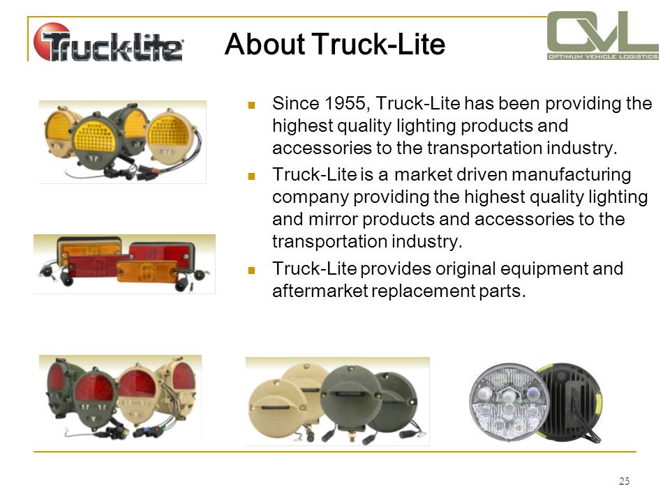 About Truck-Lite Since 1955, Truck-Lite has been providing the highest quality lighting products and accessories to the transportation industry.