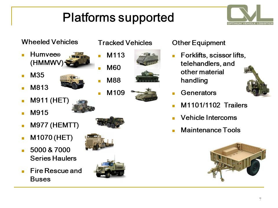 Platforms supported Wheeled Vehicles Humvee® (HMMWV) M35 M813