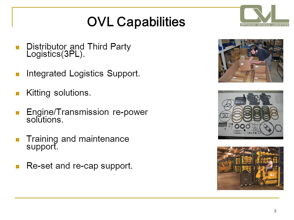 OVL Capabilities Distributor and Third Party Logistics(3PL).