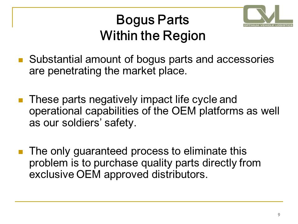 Bogus Parts Within the Region