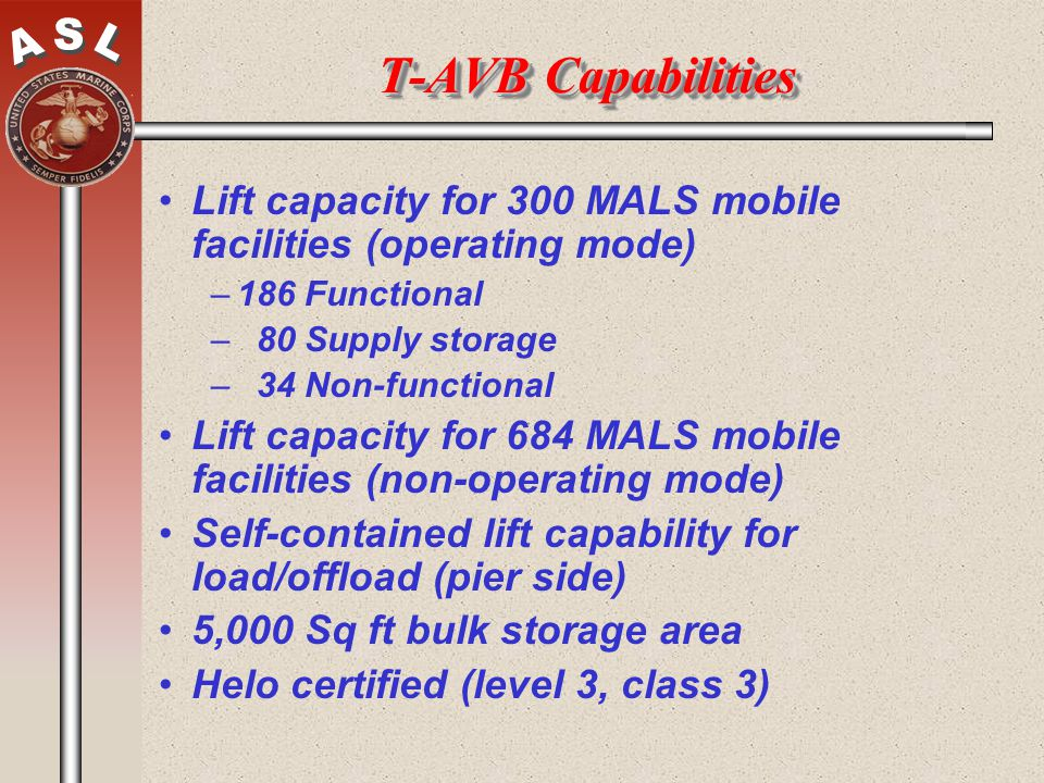 T-AVB Capabilities Lift capacity for 300 MALS mobile facilities (operating mode) 186 Functional. 80 Supply storage.