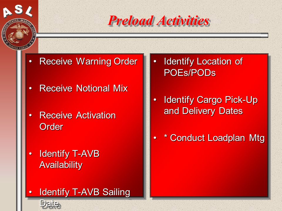 Preload Activities Receive Warning Order Receive Notional Mix