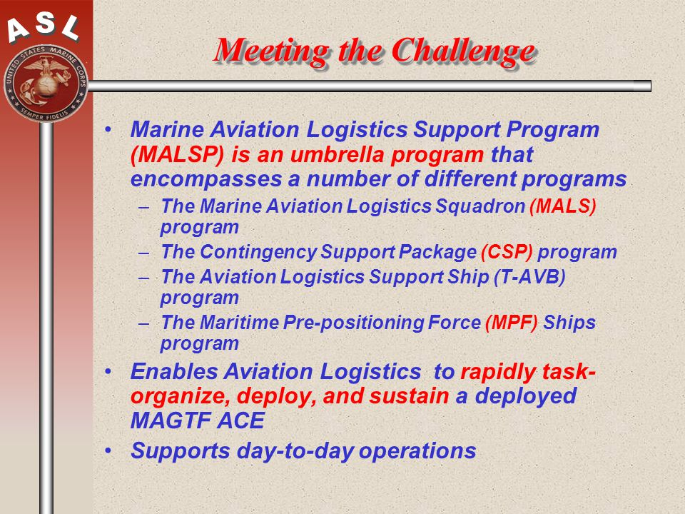 Meeting the Challenge Marine Aviation Logistics Support Program (MALSP) is an umbrella program that encompasses a number of different programs.