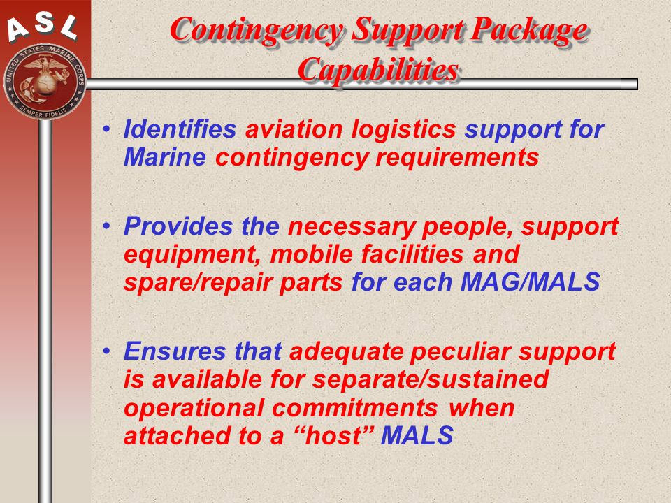 Contingency Support Package Capabilities