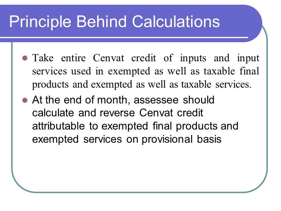 Principle Behind Calculations