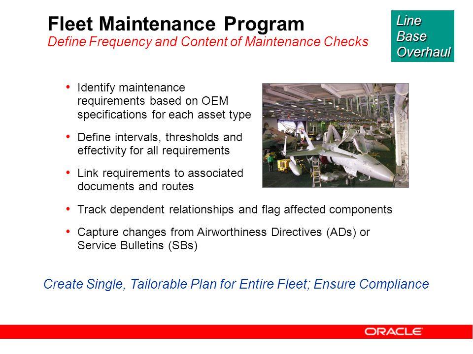 Create Single, Tailorable Plan for Entire Fleet; Ensure Compliance
