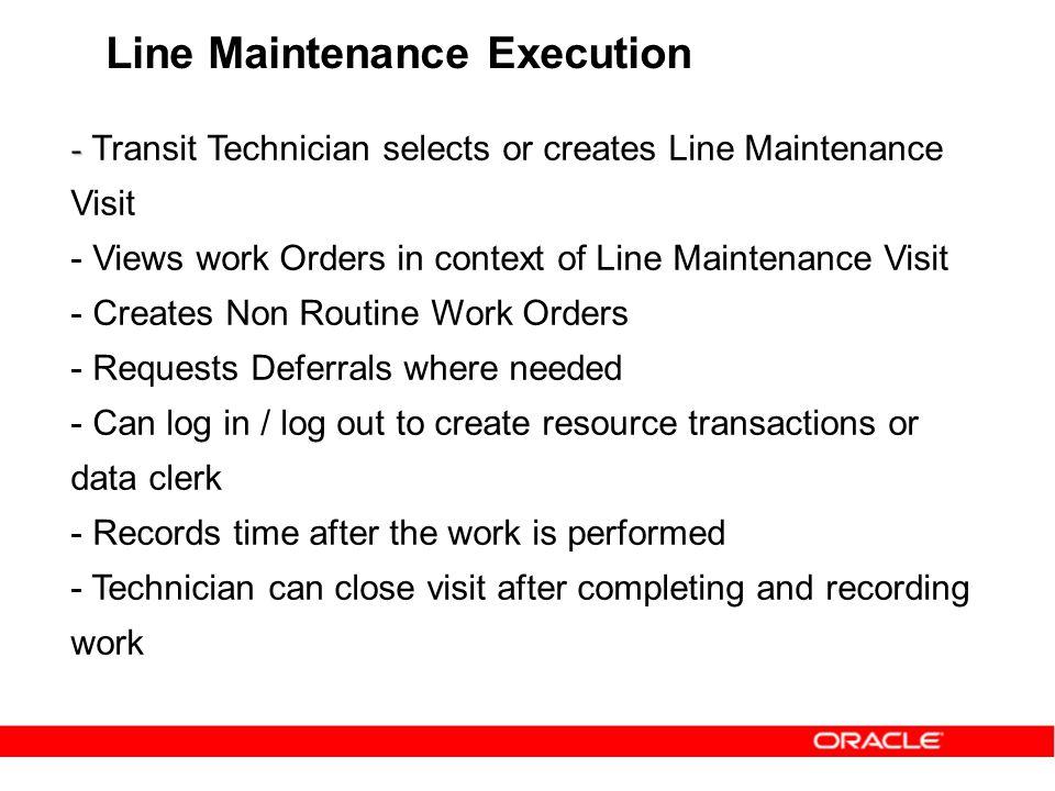 Line Maintenance Execution