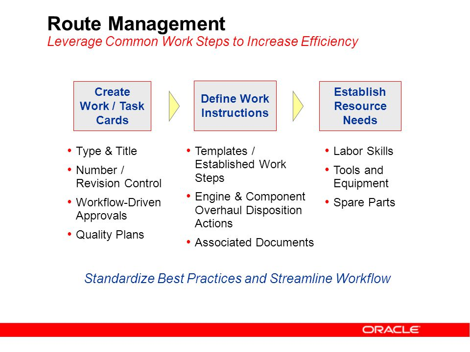 Route Management Leverage Common Work Steps to Increase Efficiency