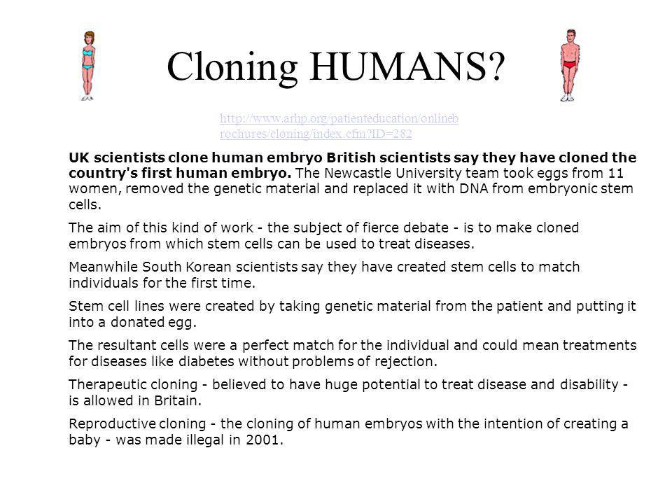 Cloning HUMANS http://www.arhp.org/patienteducation/onlinebrochures/cloning/index.cfm ID=282.