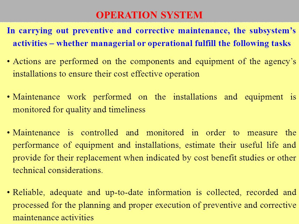OPERATION SYSTEM
