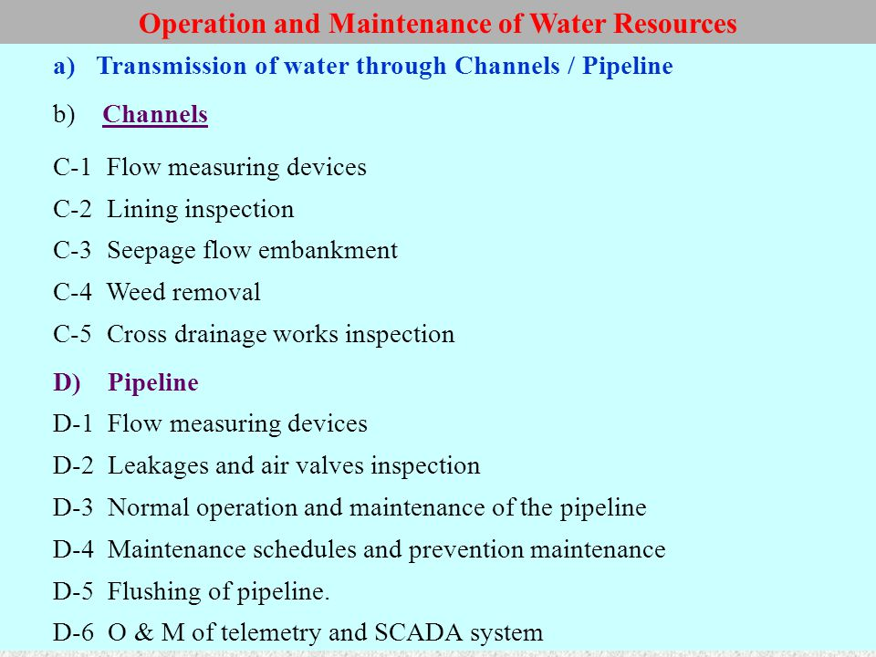 Operation and Maintenance of Water Resources