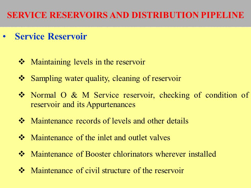 SERVICE RESERVOIRS AND DISTRIBUTION PIPELINE