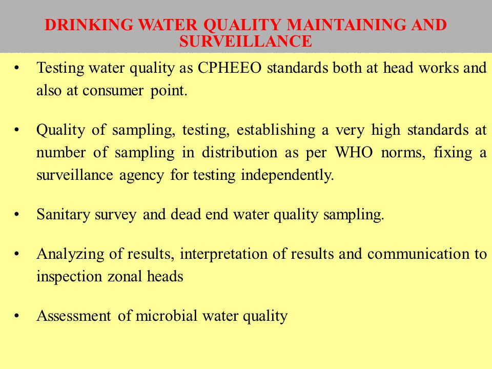 DRINKING WATER QUALITY MAINTAINING AND SURVEILLANCE