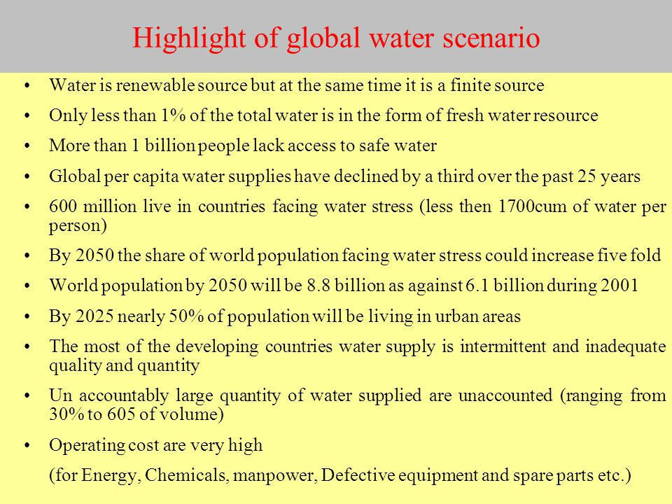 Highlight of global water scenario