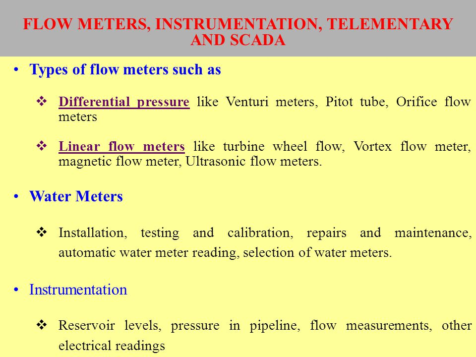 FLOW METERS, INSTRUMENTATION, TELEMENTARY AND SCADA