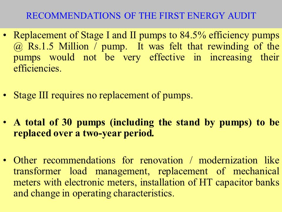 RECOMMENDATIONS OF THE FIRST ENERGY AUDIT