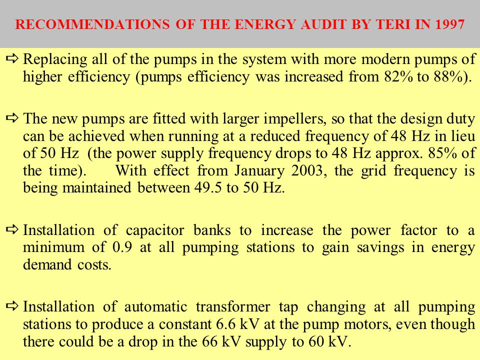 RECOMMENDATIONS OF THE ENERGY AUDIT BY TERI IN 1997