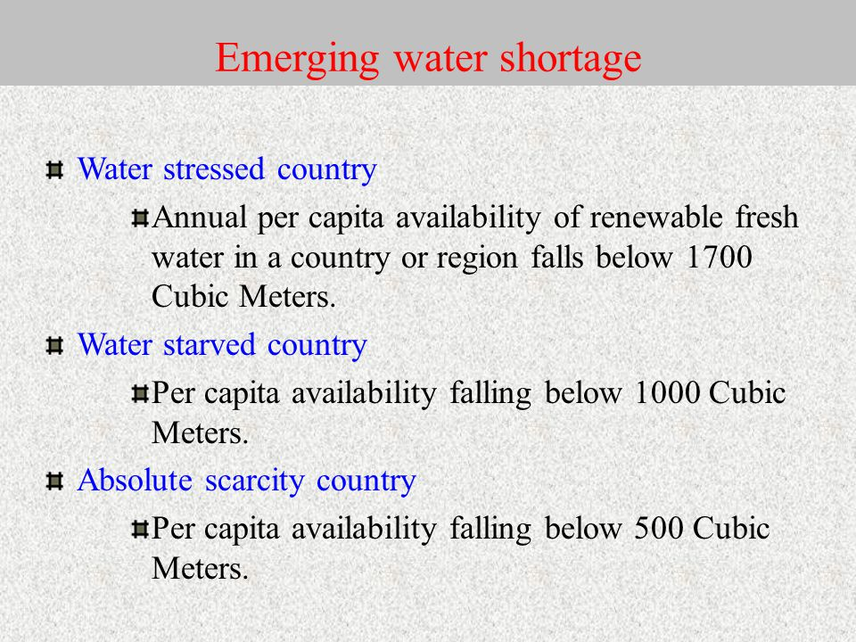 Emerging water shortage