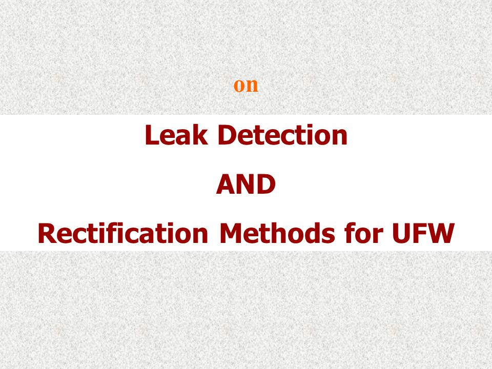 Rectification Methods for UFW