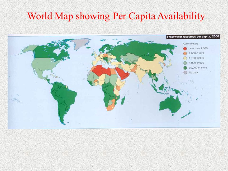 World Map showing Per Capita Availability