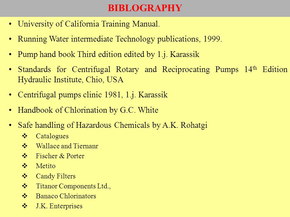 BIBLOGRAPHY University of California Training Manual.