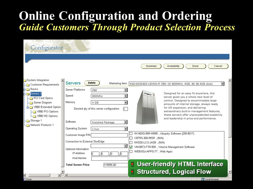 Online Configuration and Ordering Guide Customers Through Product Selection Process