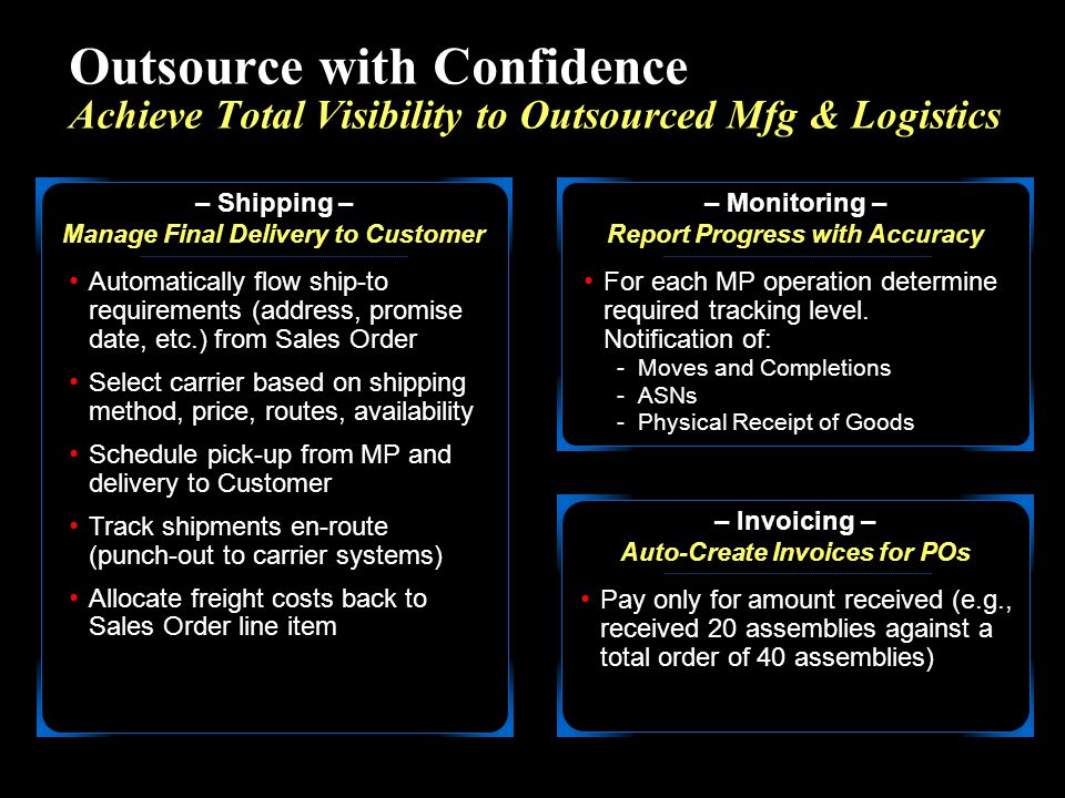 Outsource with Confidence Achieve Total Visibility to Outsourced Mfg & Logistics