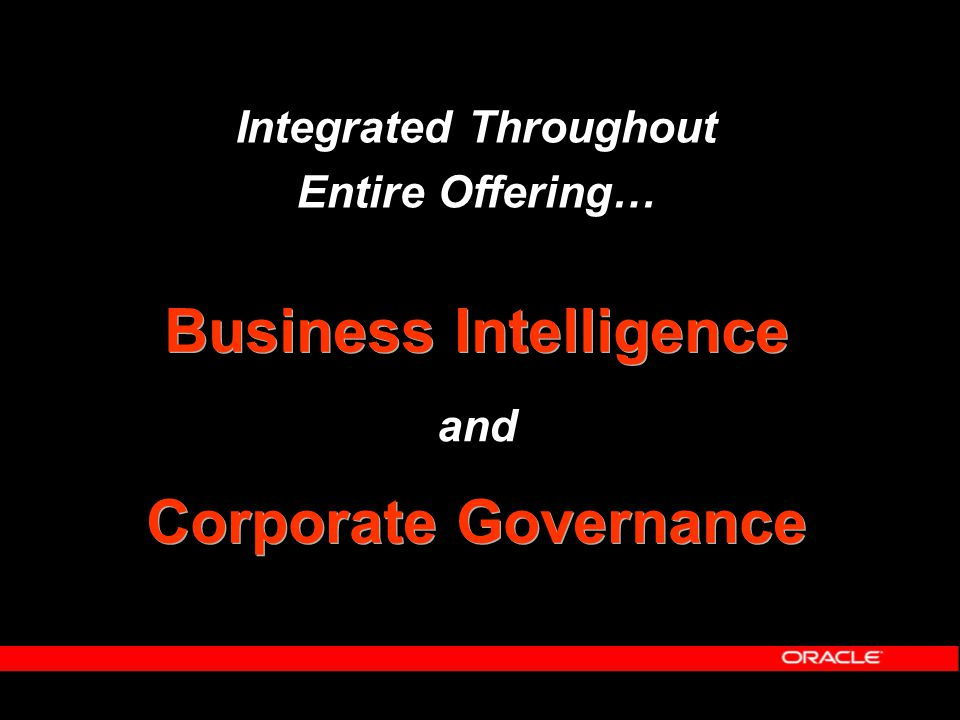Integrated Throughout Entire Offering… Business Intelligence