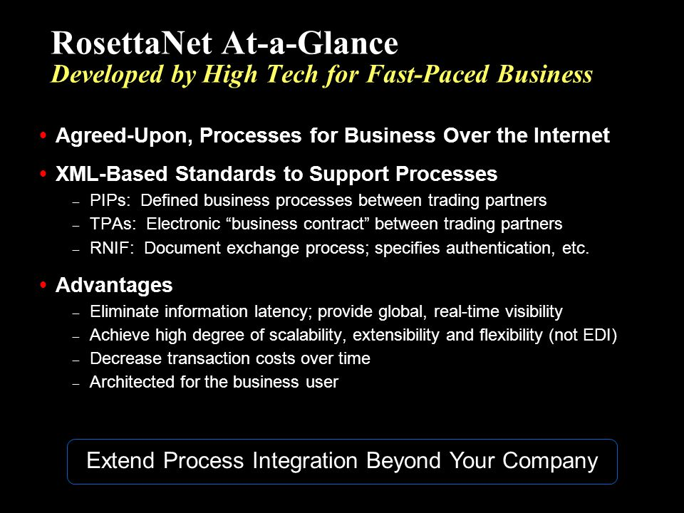 RosettaNet At-a-Glance Developed by High Tech for Fast-Paced Business
