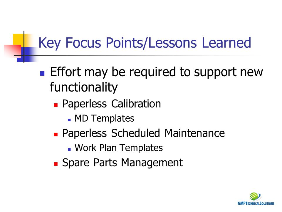 Key Focus Points/Lessons Learned