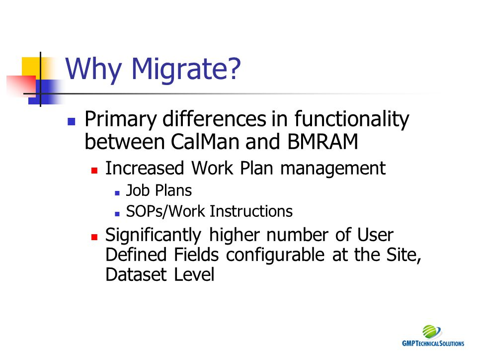 Why Migrate Primary differences in functionality between CalMan and BMRAM. Increased Work Plan management.