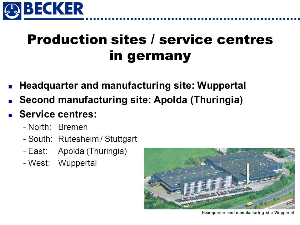 Production sites / service centres in germany