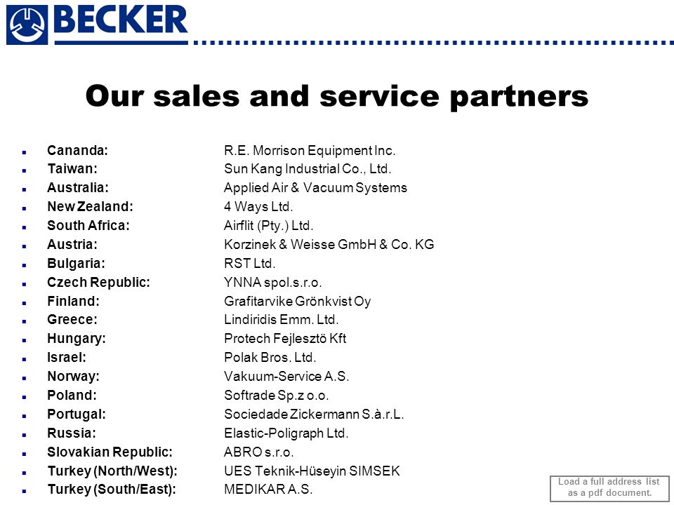Our sales and service partners