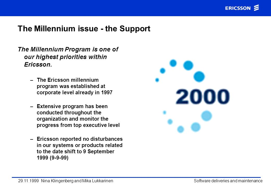 The Millennium issue - the Support