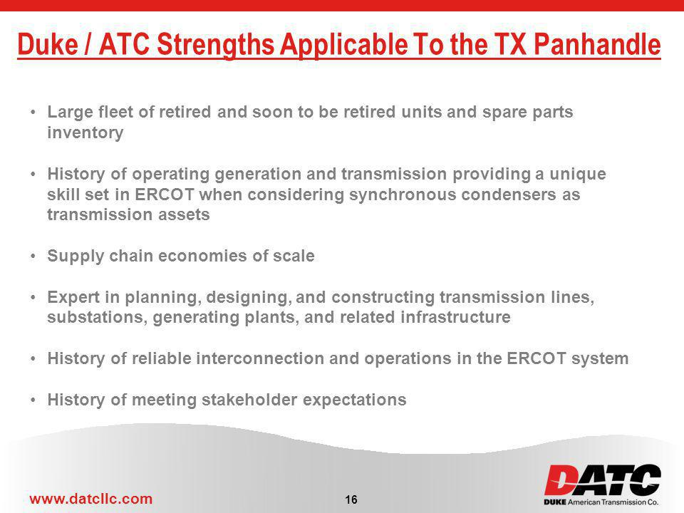 Duke / ATC Strengths Applicable To the TX Panhandle