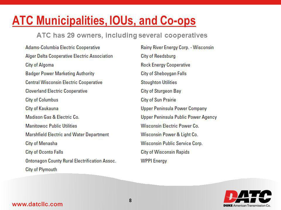 ATC Municipalities, IOUs, and Co-ops