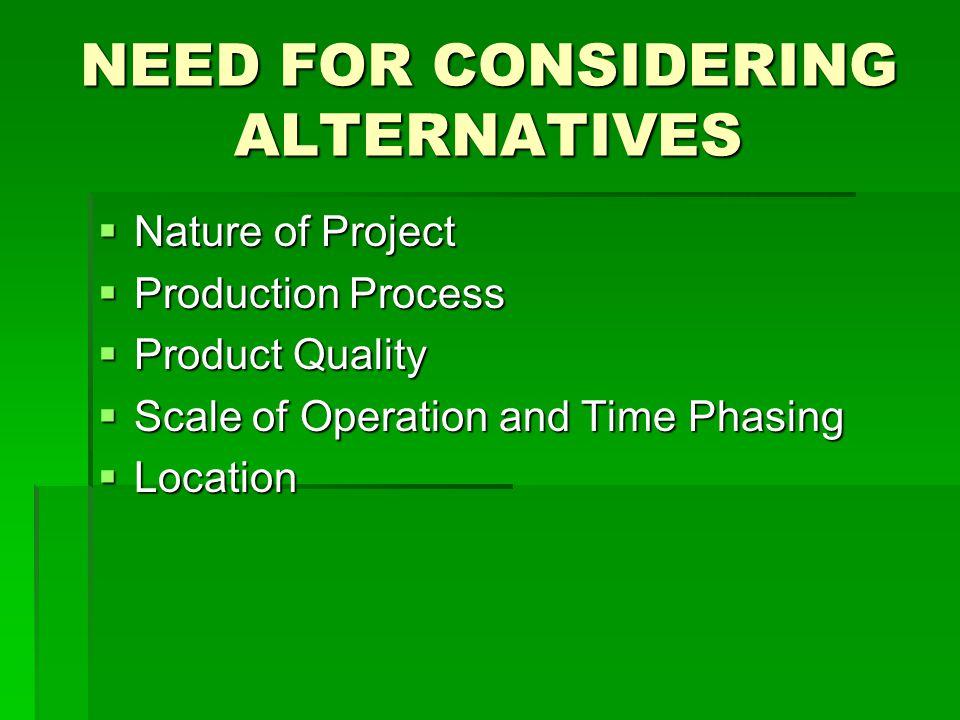 NEED FOR CONSIDERING ALTERNATIVES