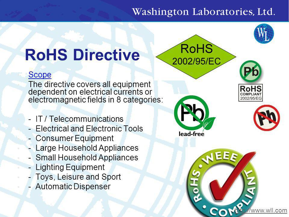 RoHS Directive Scope. The directive covers all equipment dependent on electrical currents or electromagnetic fields in 8 categories: