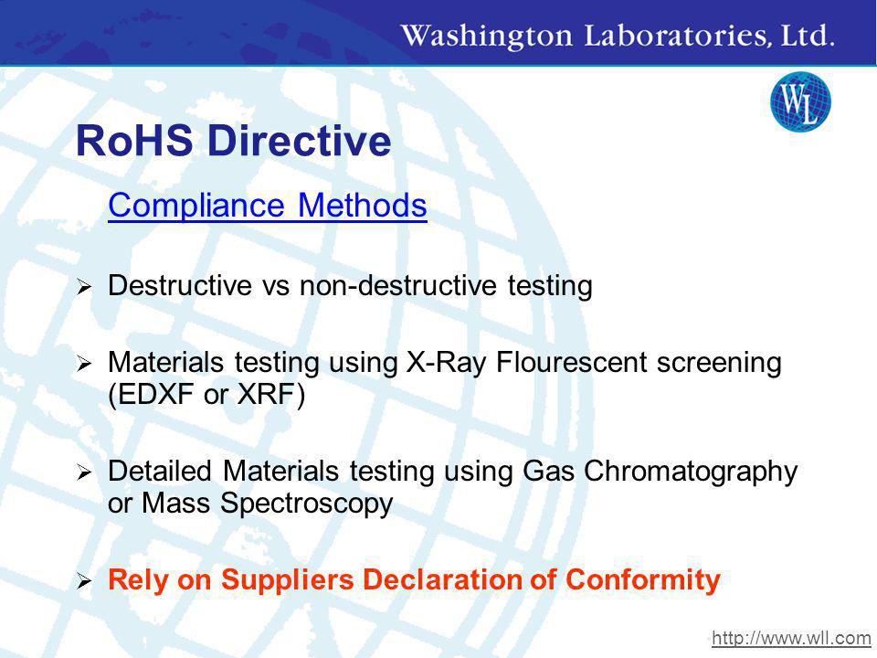 RoHS Directive Compliance Methods