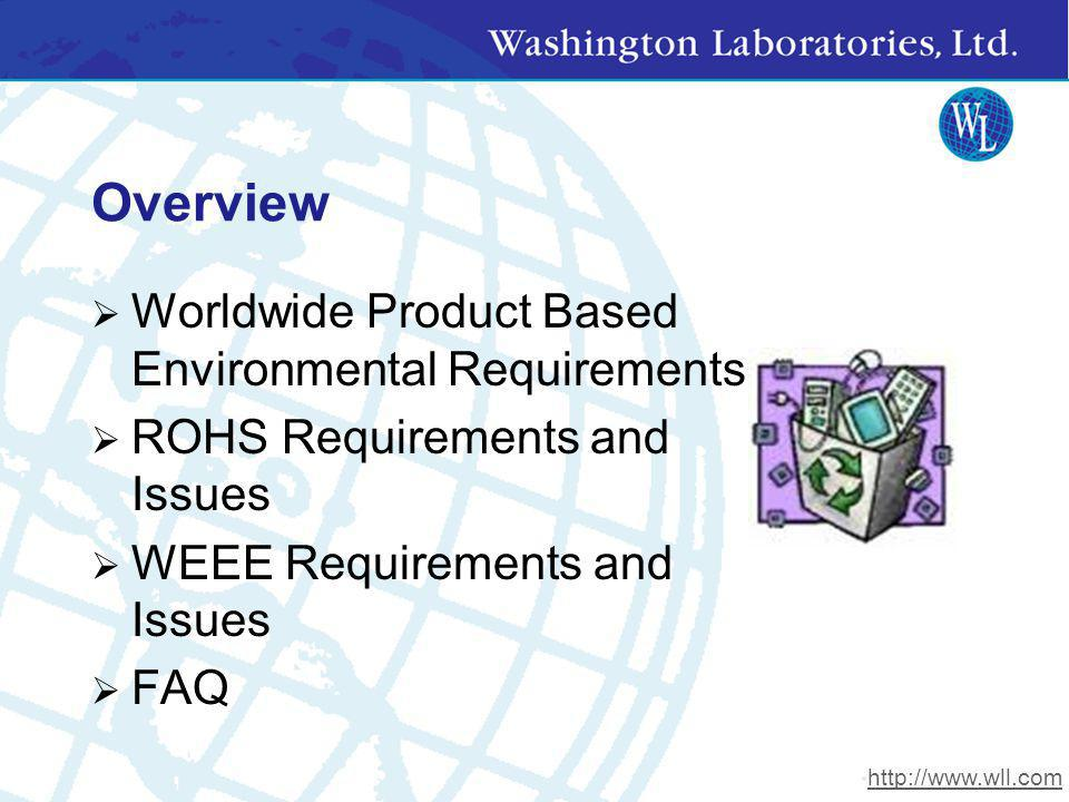Overview Worldwide Product Based Environmental Requirements
