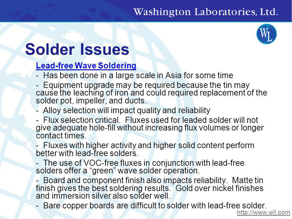 Solder Issues Lead-free Wave Soldering