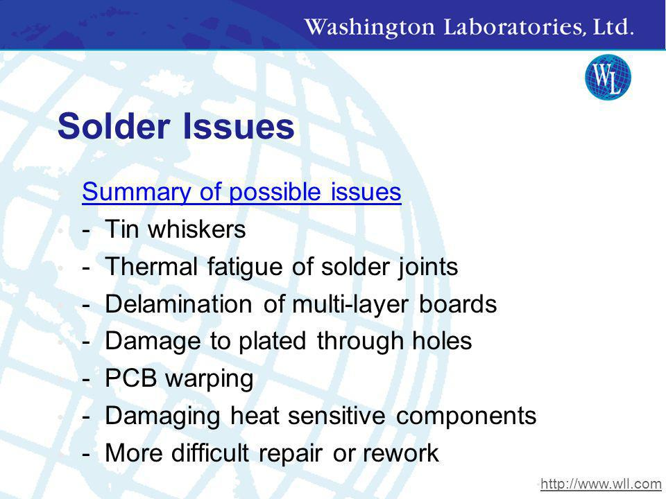 Solder Issues Summary of possible issues - Tin whiskers